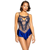 Sexy One More Thing Sheer Applique Satin Skirted Teddy
