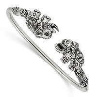 Sterling Silver Polished Antiqued Elephants Flexible Bangle