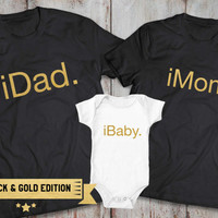 iDad iMom iBaby family matching shirts, Family matching outfits, father son matching, mother son, mother daughter, 100% cotton Tee, UNISEX