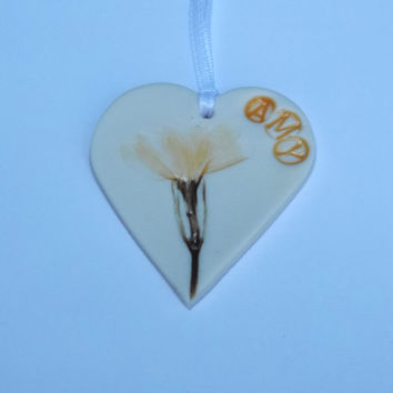 Personalised Handmade Porcelain Hanging Decoration With Yellow  Flower - Mothers Day Gift