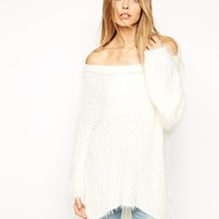 ASOS Fluffy Sweater In Slouchy Off Shoulder Shape