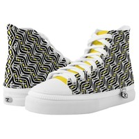Funky Zigzag Pattern in Yellow and White High-Top Sneakers