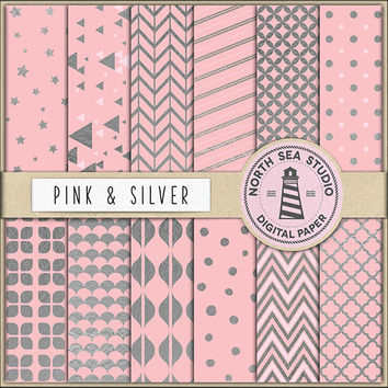 BUY5FOR8 Silver Digital Paper Pink And Silver Paper Pink Backgrounds Digital Scrapbooking 12 JPG 300 DPI Files Download