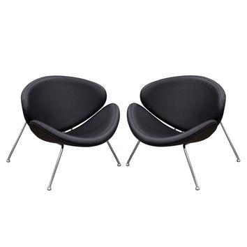 Set of (2) Roxy Accent Chair with Chrome Frame by Diamond Sofa - BLACK