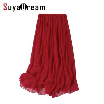 Women Silk long skirt 100%Real Silk Solid Wine Pleated Skirts Two layers Silk Mid Calf length 2017 Spring Summer New