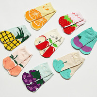 New Lovely Womens Girls Socks Cotton Socks Creative Fruit Printed Short Socks