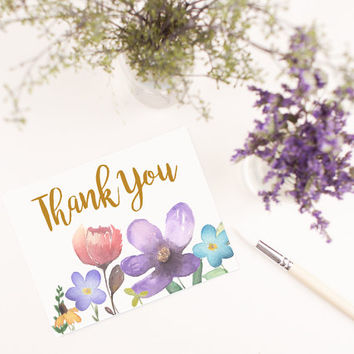 Hand Painted Flowers Wreath Blank Thank you card template digital printable instant download file floral colorful greeting card
