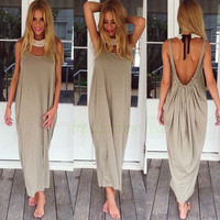 HOT! Women Summer Boho Long Maxi Party Casual Beach Dress Plus Size, BLACK/KHAKI