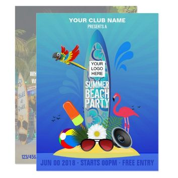 Summer Club Beach Party add photo and logo invite