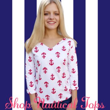 Miss Nauti Red Anchors V Neck Top