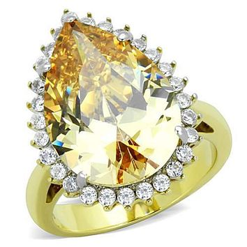 WildKlass Stainless Steel Ring Two-Tone IP Gold (Ion Plating) Women AAA Grade CZ Champagne