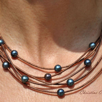 Pearl and Leather Necklace - 5 Strand Brown Peacock Pearl Necklace - Pearl and Leather Jewelry Collection