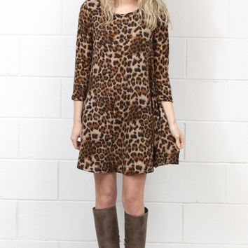 Wild Thing Brushed Knit Leopard Tunic Dress {Brown}