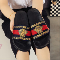 Versace Casual Fashion Women Floral Print Sandal Slipper Shoes