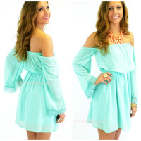 SZ LARGE Hillcrest Mint Off-Shoulder Dress