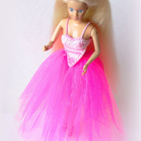 Handmade Barbie Clothes - Long Pink Tutu Skirt, Ball Gown or Long Prom Dress Underskirt for Fashion Dolls, Tulle Skirt
