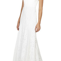 White BCBG Elisia Sleeveless Lace-Blocked Gown