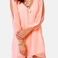 Pink V-Neck Long Sleeve Chiffon Mini Dress