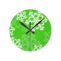 Cute green and white Christmas snowflakes Wallclock