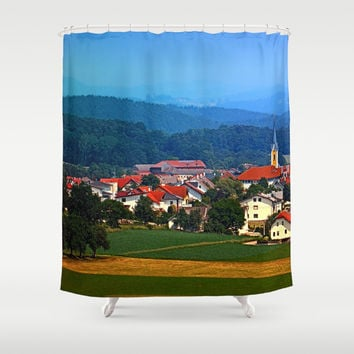 Village skyline on a summer afternoon Shower Curtain by Patrick Jobst