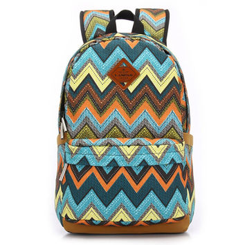 Women's Canvas Chevron Backpack School Bookbag Travel Bag