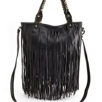 FAUX-LEATHER FRINGE SATCHEL BAG