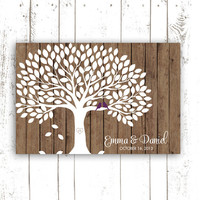Guest Book Tree - Guest Book Alternative for 150 Guest Signatures - Rustic Wood Wedding Guestbook