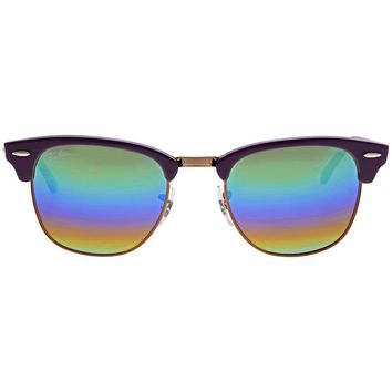 Ray Ban Clubmaster Mineral Green Rainbow Flash Mens Sunglasses RB3016 1221C3 51