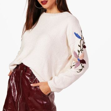 Savannah Soft Knit Embroidered Sleeve Jumper | Boohoo
