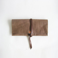 Leather Wrap Wallet // Taupe