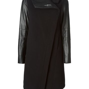 Helmut Lang leather sleeves coat