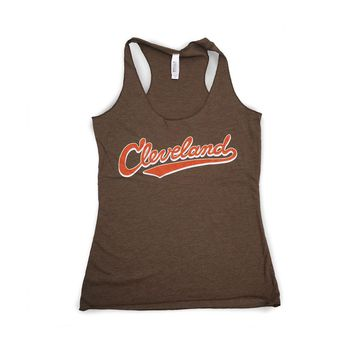Cleveland Athletic Script - Brown and Orange Tank Top