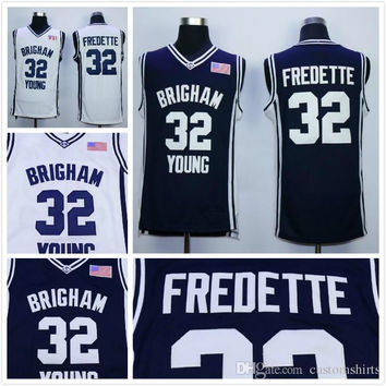 32 Jimmer Fredette College Basketball Jerseys 2016 Brigham Young Cougars Shirt Uniforms Team Color Navy Blue White Breathable Free Shipping