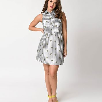 Retro Style Denim Stripe & Pineapple Print Sleeveless Flare Dress