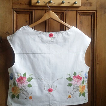 Womens lace blouse hand made white cotton blouses ladies tops and tees  floral top embroidered  sleeveless shirt Dolly Topsy Etsy UK