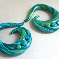 Tidal Wave Polymer Gauged Earrings Blue & by KatyMarieCreations