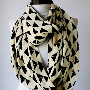 white geometric  scarf,infinity scarf, scarf, scarves, long scarf, loop scarf, gift