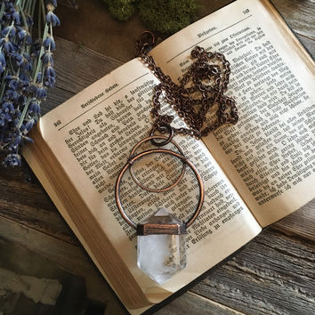 Large Crystal Necklace / Quartz Crystal Necklace  / Clear Quartz Pendant / Big Crystal Statement Jewelry / Healing Crystal Necklace