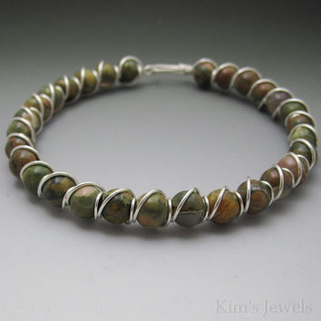 Rainforst Jasper Sterling Silver Wire Wrapped Beaded Bracelet