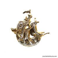 1910s Wolf Prow Sailing Ship Brooch Vintage Game of Thrones