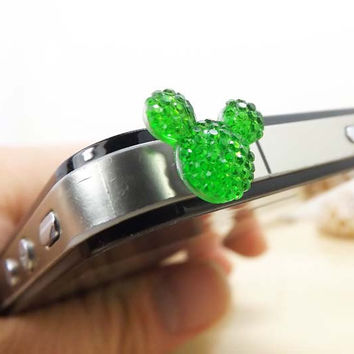 4 Colors Cute Crystal Mickey Mouse Head Dust Plug - 3.5mm Dust Stopper Earphone Cap Dustproof Plug Charms for iPhone 4 4S 5 HTC, Samsung