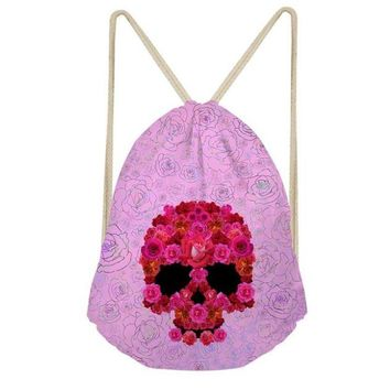 Skull Printed Small Drawstring Bag for Everyday Softback Casual
