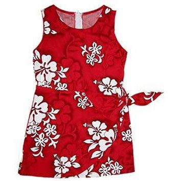 Seastar Red Hawaiian Girl's Sarong Floral Dress