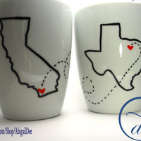 Set of 2 State Love Mugs -- Two States & One Quote -- Custom Gift, Long Distance Relationship, BFF, Going Away Gift