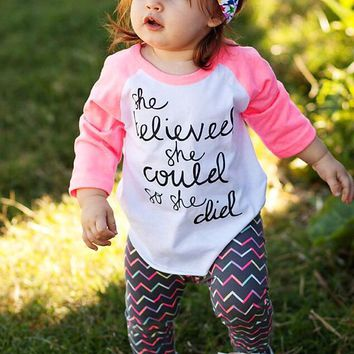 She Believed She Could So She Did Baby Girls Children Kid T-Shirt
