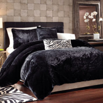 Black Panther Faux Fur Duvet Cover Set