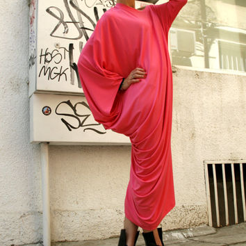 Pink Asymmetrical Tunic Dress / Kaftan / Off Shoulder Dress / Maxi Blouse