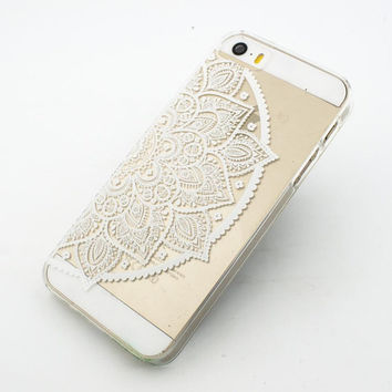 "Clear Plastic Case Cover for iPhone 6 (4.7"") Henna Lotus Mandala half hindu ganesh buddhist indian flower floral"