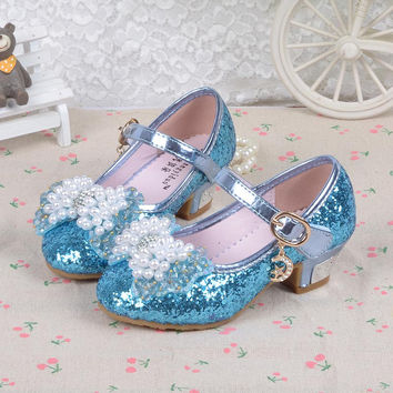 New 2016 Children Princess Sandals Girls Shoes High Heels Dress Shoes Party Shoes For Girls dance shoes size26-37