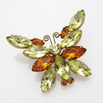 Vintage Rhinestone Butterfly Brooch Yellow Gold Jewelry P7355